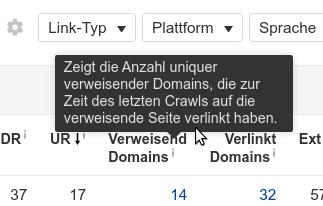 ahrefs Begriffe - verweisende Domains
