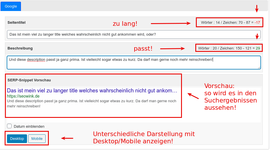 wpSEO title und meta description vorschau